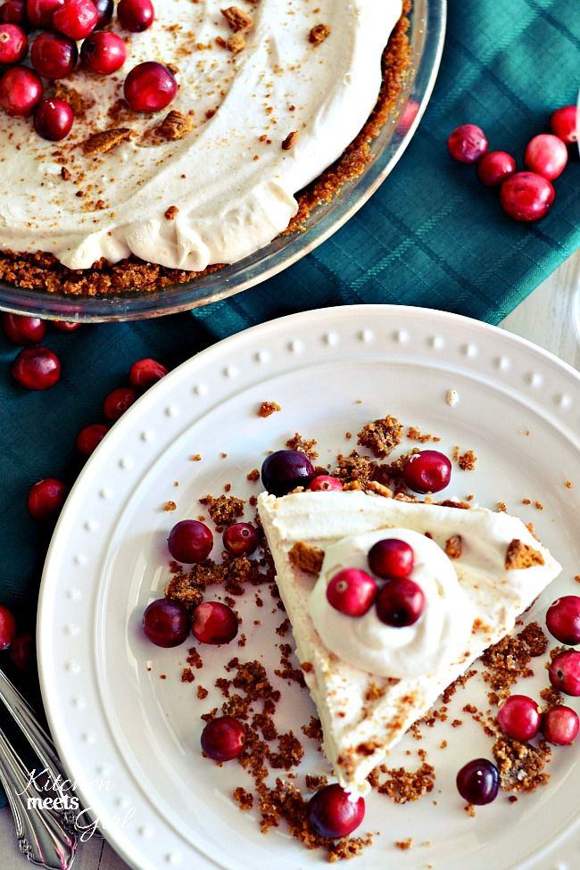 Skinny Eggnog Pie with a Gingersnap Crust