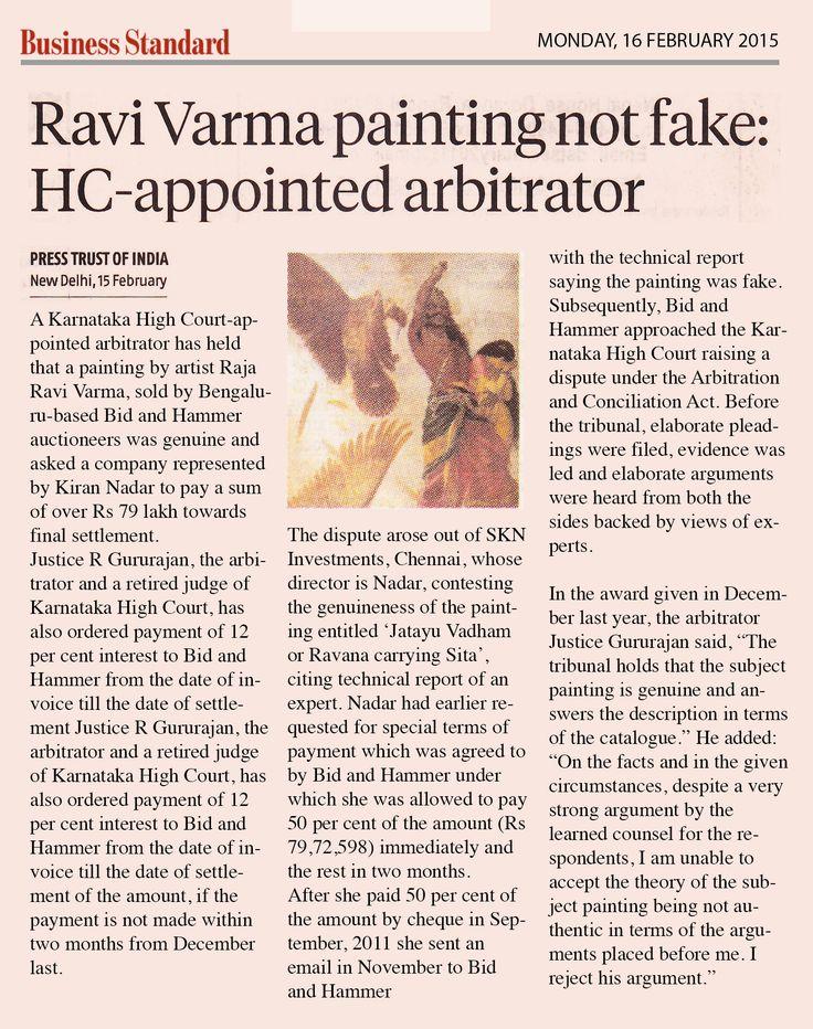Ravi Varma painting not fake: HC appointed arbitrator, BUSINESS STANDARD 16TH FEB 2015