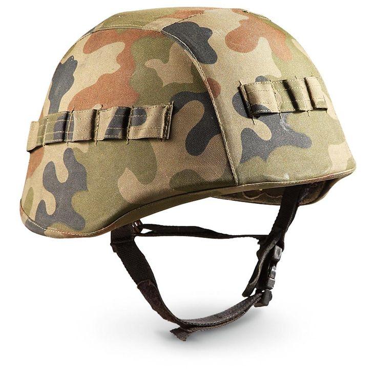 Used NATO Military Surplus Helmet with Kevlar®, Woodland Camo