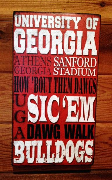 University of Georgia Bulldogs Distressed Wood Sign by SignNiche, $38.00