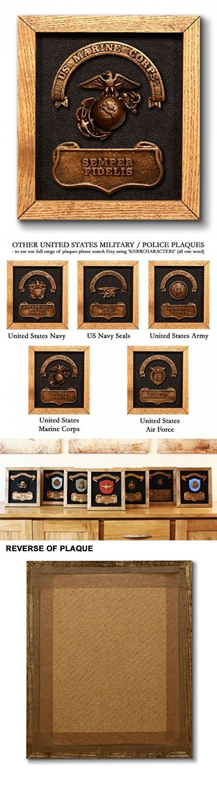 US MARINES Plaque - includes official United States Marine Corps badge and motto. Magnificent handmade military present or gift - Birthday / Fathers Day / Christmas / Recruit etc