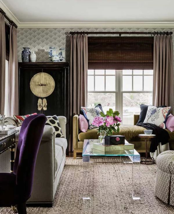Robin Gannon. Cole & Son's Feather Fan with chocolate, purple, and natural fibers. Glam with the lucite table and Asian cabinet.