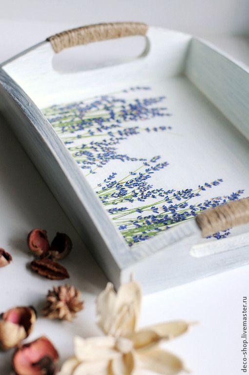 Decoupage tray lavender