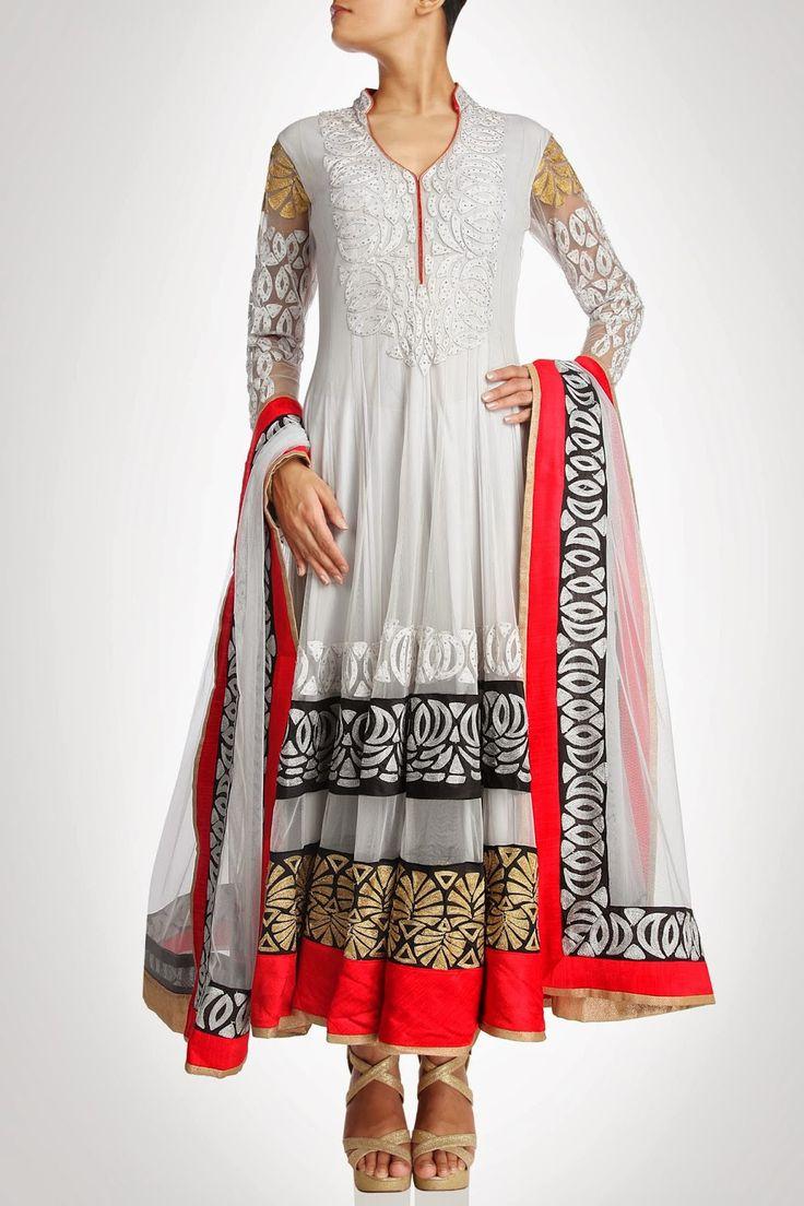 White color long anarkali suit – Panache Haute Couture