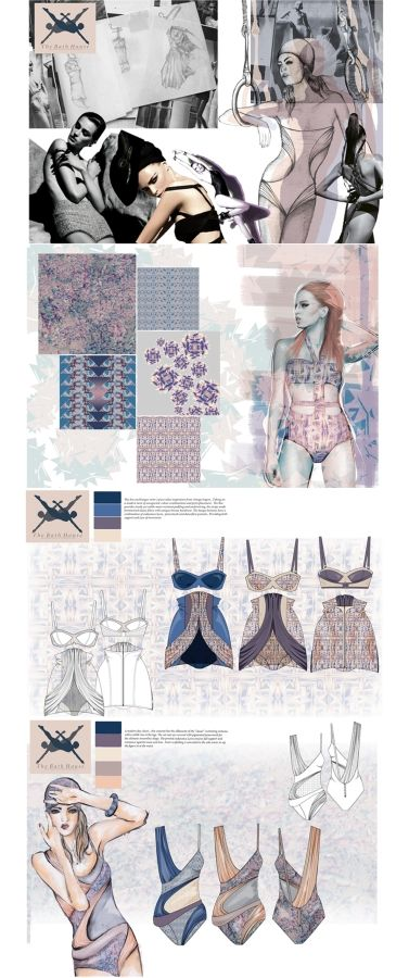 Fashion Portfolio - patterned swimwear design with a vintage inspired silhouette - research & fashion design drawings; fashion sketchbook