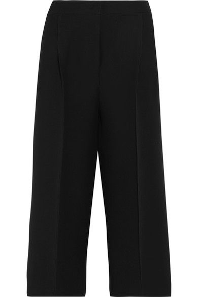 Fendi - Cropped Wool And Silk-blend Crepe Wide-leg Pants - Black - IT48