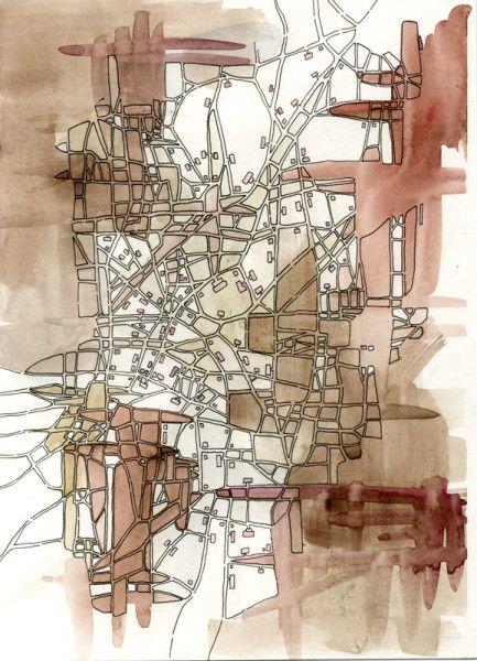 Sepia Lines (Cityspace #221). Emily Garfield. Beautiful art maps of imaginary cities.