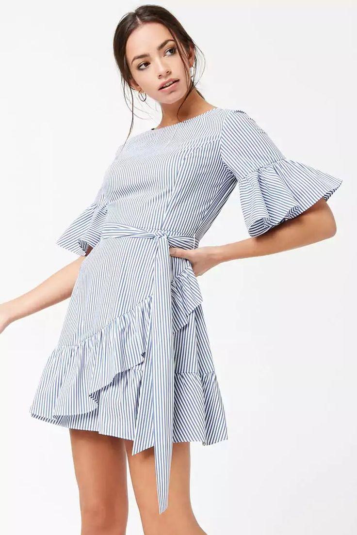 Product Name:Pinstriped Ruffle-Trim Mock Wrap Dress, Category:dress, Price:24.9