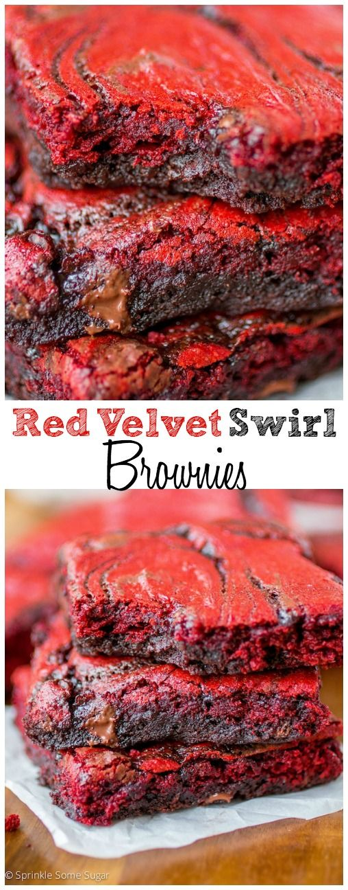 Red Velvet Swirl Brownies. They are so ooey gooey and are the perfect fudgy bars for Valentine's Day!