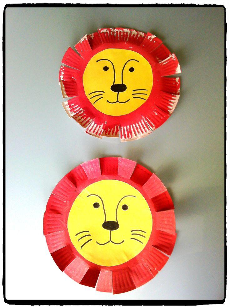 bricolage lion de cirque, assiette en carton, enfant