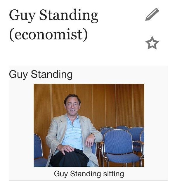 When Guy Standing was in fact sitting. | 18 Times Wikipedia Was Fucking Wild
