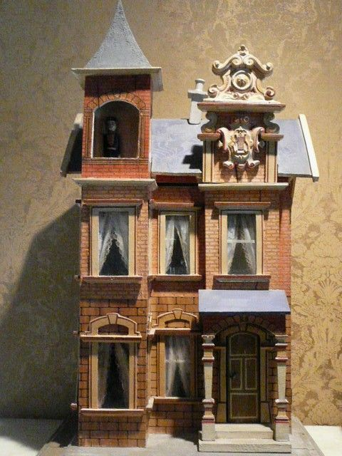 Antique Dolls Houses. Gottschalk Blue Roof Dolls House. (nice scroll work on the roof!)