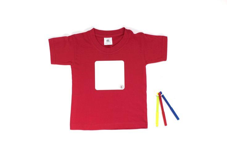 Van Eijk & Van der Lubbe, Whiteboard t-shirt. Teken je eigendecoratie. Na iedere wasbeurt is het shirt weer een leeg doek.