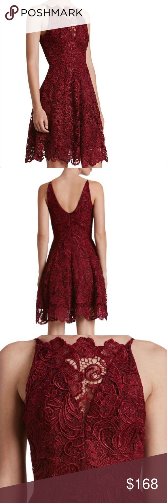 French Lace Fit & Flare Mini Dress NWT Hayden in deep berry red. Gorgeous heavy-weight guipure (French, crochet-like) lace. Fit and flare mini skirt - not super short - with illusion hemline. Deep v neckline with illusion panel. Very feminine. Perfect for special occasions and formal events, holiday, wedding guest, bridesmaid, party, cocktail, etc. size small typically fits 0 - 2. Inquire for specific measurements or additional pictures. Dress the Population Dresses Mini