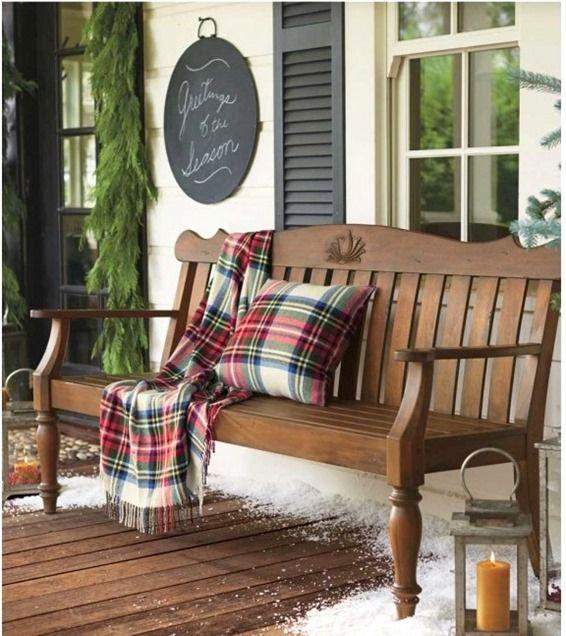 tartan throw on porch