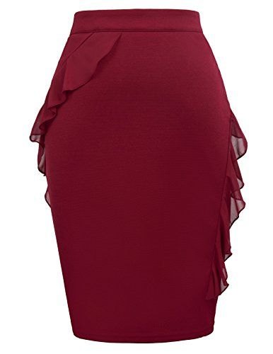04e2c93beb GRACE KARIN Women's Ruffle Bodycon Knee Length Midi Pencil Skirt CLAF0078