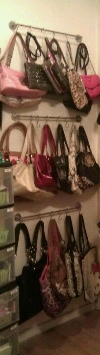 DIY Purse Rack/Organization. IKEA Bygel Rail $2.99ea Bygel Hooks .99cents/10pk.