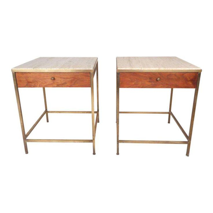 Vintage Modern Paul Mccobb Style Marble Top End Tables - a Pair - Image 1 of 11