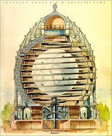 """French geographer and anarchist Elisée Reclus proposes the construction of the largest inside-out globe yet, on the scale of 1:100,000. It would stand 418 feet tall and be regularly updated with the latest geographical information..."""