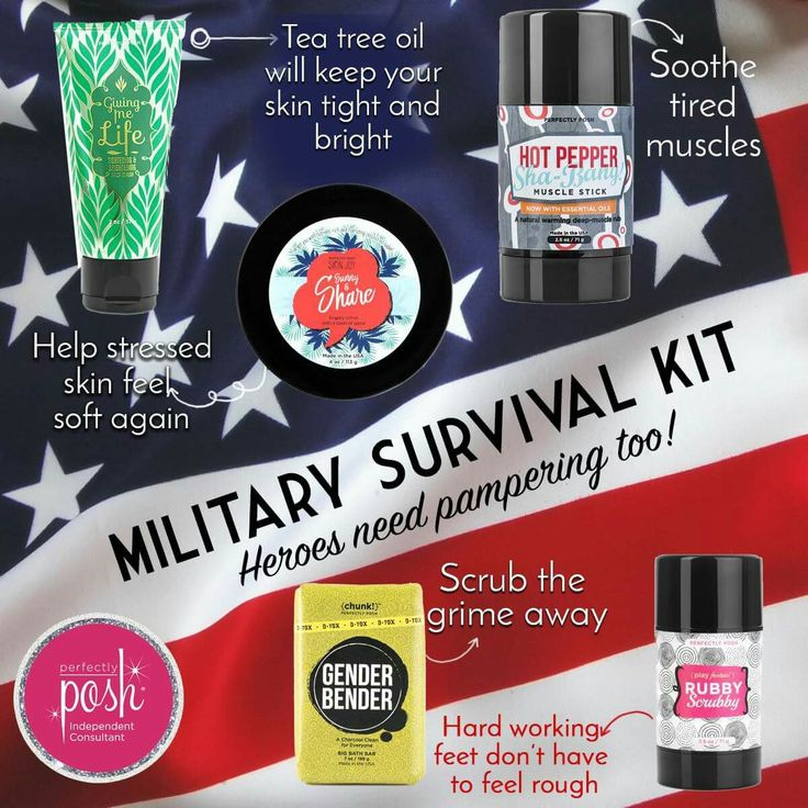 Perfectly Posh military survival kit. Tap the image to shop.