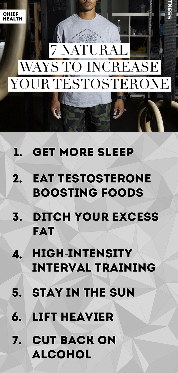 Let's take a look at the top 7 natural ways to increase your testosterone: Sleep, Diet, Fat, HIIT, Sun, Weights, and Alcohol.