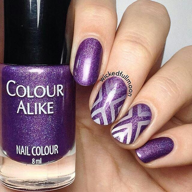 "repost via @instarepost20 from @wickedfullmoon Hello girls!  Another picture of this purple X design I showed you yesterday! For doing it I used:  Dark purple base: 497 PZN collection from Colour Alike.  ""Just an ex"" vinyls.  Gradient with: 497 and 491 PZN collection from Colour Alike and Kind of white also from Colour Alike. You can find all the things mentioned on @entrelazosytelas store  if you use my code WICKEDFULLMOON you'll get a 15% off your purchase . Did you like it?. .. Hola…"
