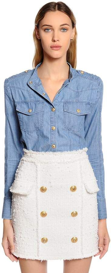 #affiliatead -- Denim Military Style Shirt -- #chic only #glamour always