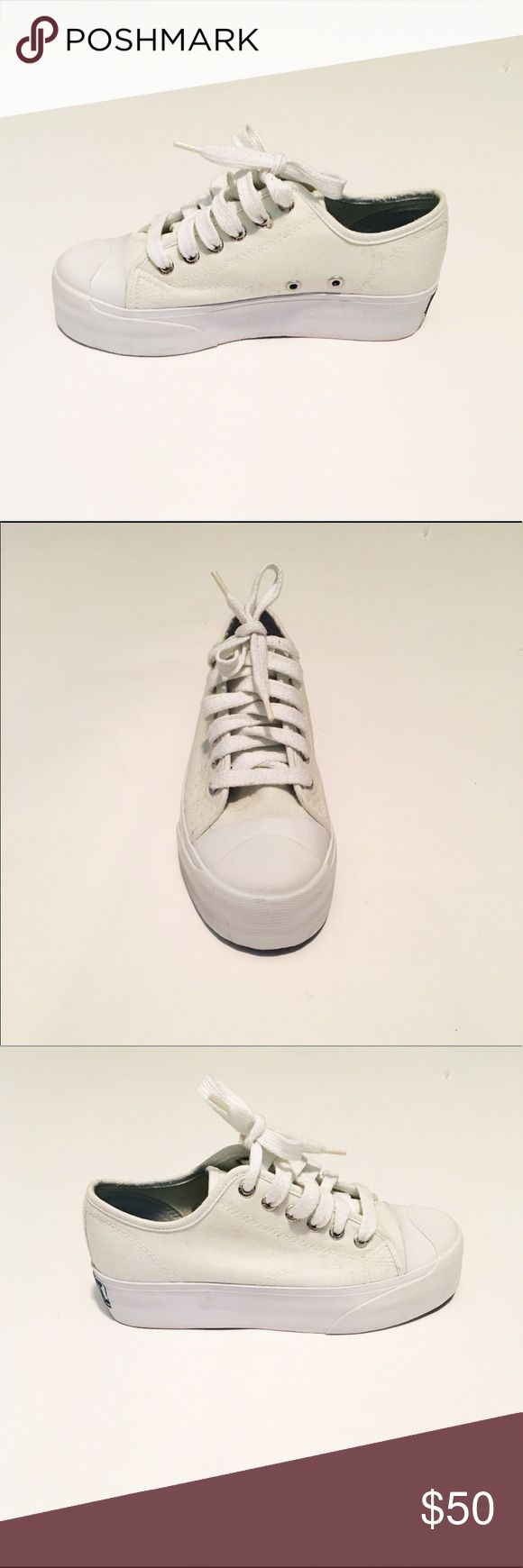 Platform tennis shoes NWOT White platform tennis shoes. Size 6. These are brand new without tags!! Super cute. Sideout Shoes Sneakers