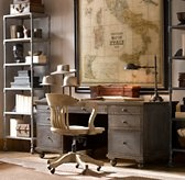 Home Office ideas :) Restoration Hardware. that's our lamp! vintagey. industrial shelves-- maybe with baskets? love map; color/shape desk
