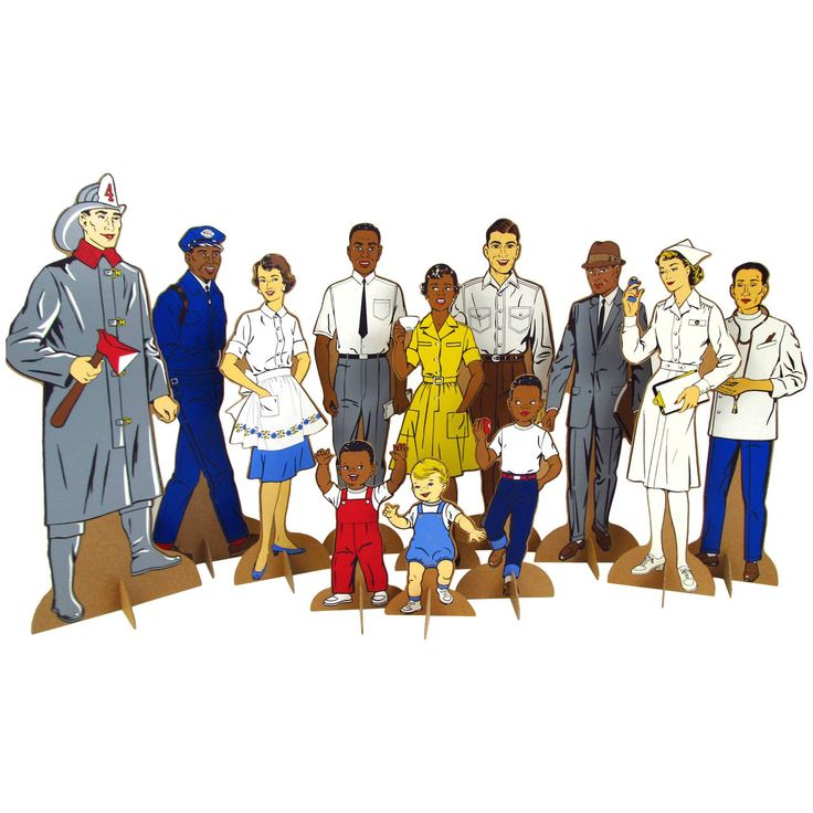 "1964 Multi Ethnic Teachers Aids ""Judy's Neighbors"" Stand Up Figures 