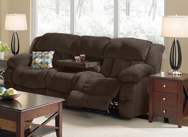 86 Reclining Sofa This 86 Dual Reclining Sofa Lets Everyone Put Their Feet Up And Includes A Practical Drop Down Tra Sofa Reclining Sofa Dream Living Rooms