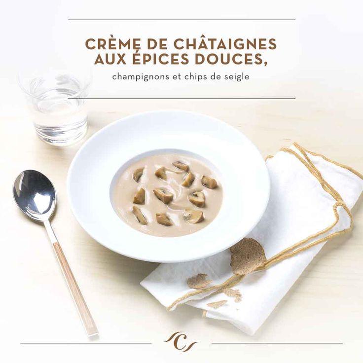 [Carte Enchantement Quotidien]  Crème de châtaignes aux épices douces, champignons et chips de seigle #ChefCuisine #MonChefCuisine #gastronomiealamaison #gastronomie #AnneSophiePic #food #cordonbleu #french #chef #foodie