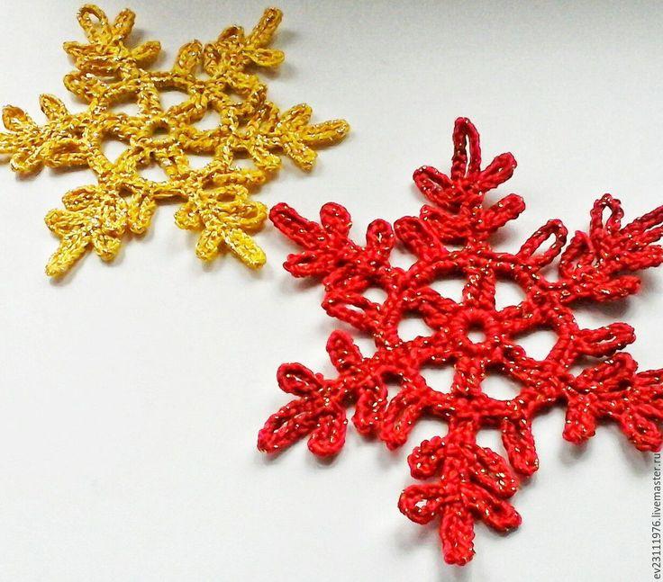 Купить ЕЛОЧНЫЕ УКРАШЕНИЕ . ВЯЗАНЫЕ СНЕЖИНКИ - комбинированный, вязание на заказ, Вязание крючком, вязание