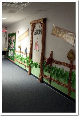Had a hard time choosing one image from great selection of pics of hall walls decorated by theme by grade level.