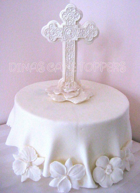 Boy Baptism Christening Baby Cake Topper Cross By