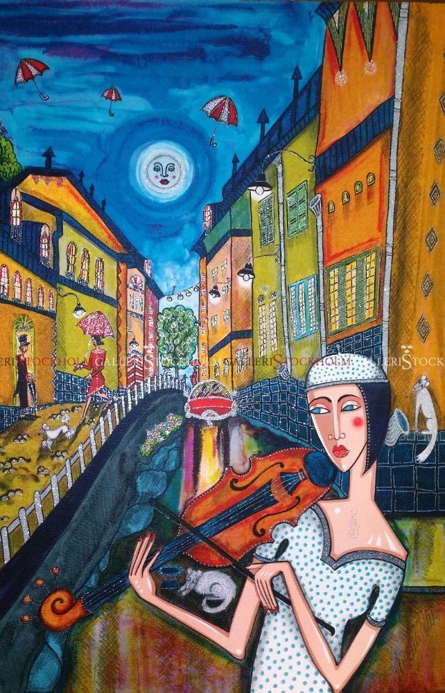 Angelica Wiik - Litografi - Mariaberget