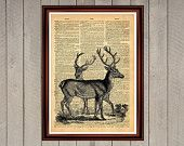 Deer animal nature antlers family print Rustic decor Cabin Vintage Retro poster Dictionary page Home interior Wall 0007