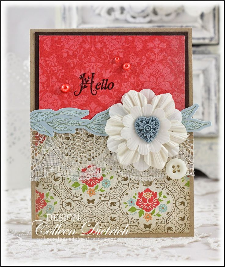 Dietrich Designs - A Dainty 'Hello'.  I used Stampin' Up!'s Everyday Enchantment patterned papers to get my color scheme, and a Seize The Sketch layout.  The sentiment is from Inspired By Stamping, and I created the flower by piling a few paper Prima flowers together, topped with a Webster's Pages Whimsy heart.