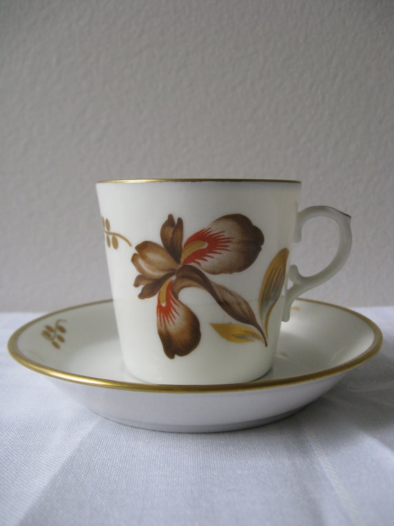 Royal Copenhagen Denmark - 50's Brown Iris Demitasse Cup and Saucer, $32