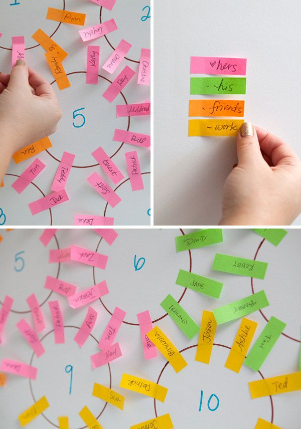 Use color coordinated sticky notes to figure out your seating plans. | Community Post: 25 Totally Ingenious Tips And Tricks To Make Your Wedding Planning Easier
