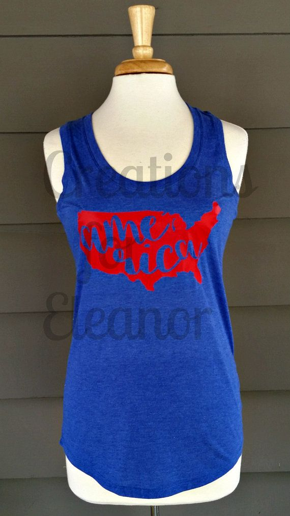 Ladies America Tank Top, Patriotic Tank Top, Fourth of July Shirt, 4th of July Shirt, Patriotic Monogram, Fourth of July Monogram