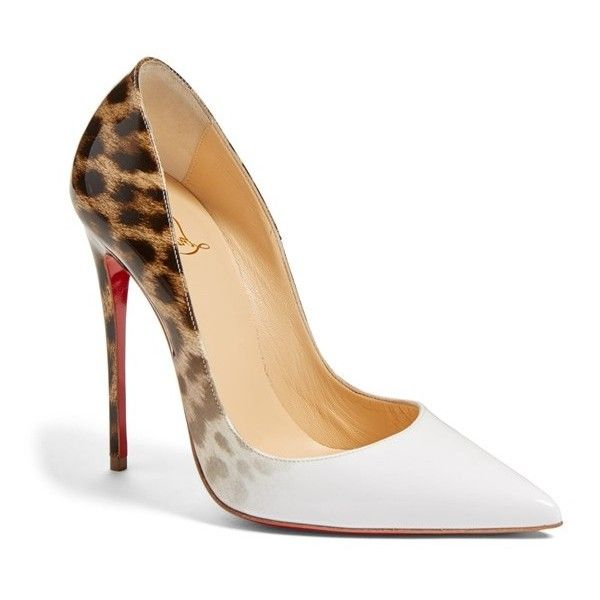Women's Christian Louboutin 'so Kate' Pointy Toe Pump found on Polyvore featuring polyvore, women's fashion, shoes, pumps, louboutin, leopard white patent, white stiletto pumps, white shoes, christian louboutin pumps and white patent pumps