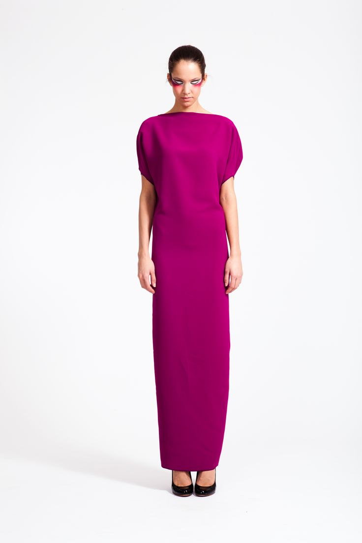REETIMEE 2015 long magenta backless dress