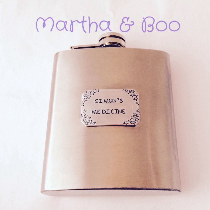 Personalised hip flask, customised whiskey bottle, hand stamped, wedding, best man, liquor flask, alcohol, mens gift, usher, father of bride by MarthaAndBoo on Etsy https://www.etsy.com/listing/237214047/personalised-hip-flask-customised