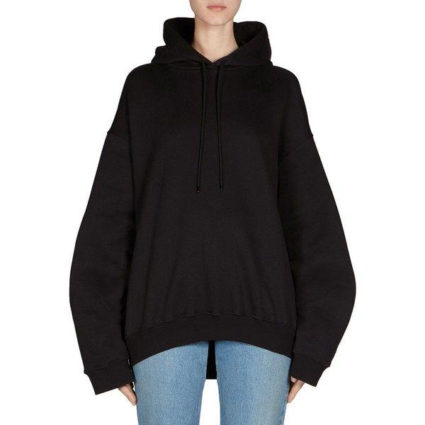 Balenciaga Open Back Sweatshirt (€550) ❤ liked on Polyvore featuring tops, hoodies, sweatshirts, long sleeve tops, cotton pullovers, hooded top, open back sweatshirt and long sleeve pullover