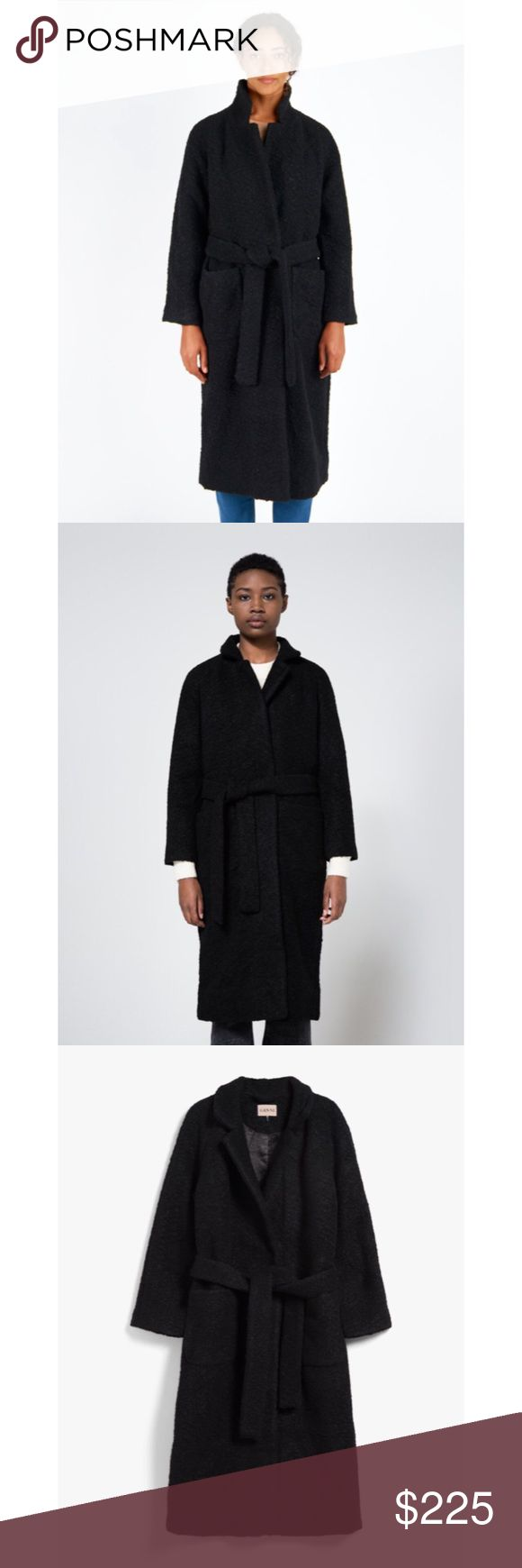 Ganni teddy fenn wrap long coat in black. Ganni teddy fenn wrap long coat in black. It is a new condition with a brand tag. A Retail price was $375, I bought it when it was $231.99 on sale. Tag size: Small / over fit design Ganni Jackets & Coats