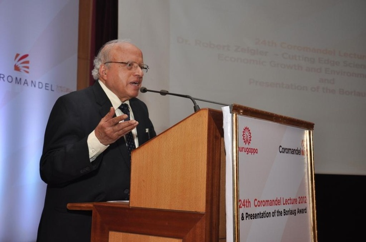 Dr. M.S. Swaminathan Father of the Green Revolution at the podium to share a few words