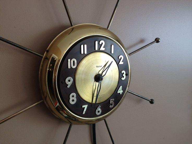 United Wall Clock Sunburst Starburst by OstrichandPeacock on Etsy, $135.00