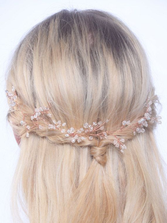Beautiful rose gold hair vine with little twigs of Swarovski vintage gold and clear crystals, glass crystals and freshwater pearls . Bridal hair accessories, boho bride, boho wedding, rustic wedding, bohemian, rose gold wedding,