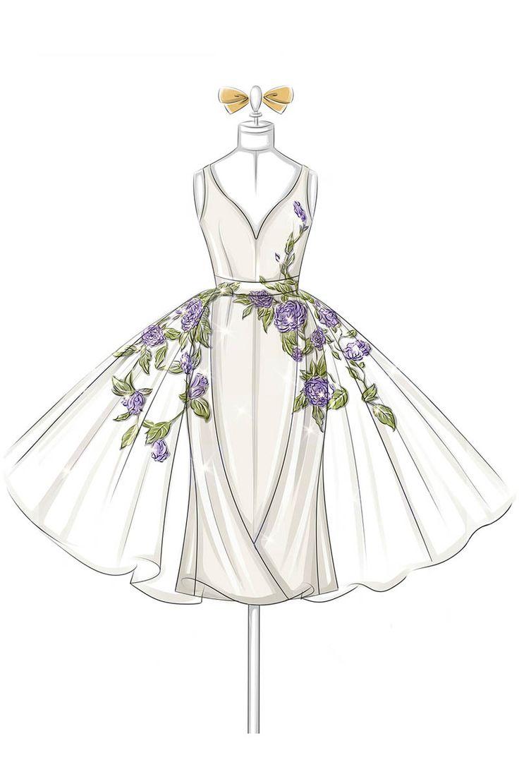 Fashion Illustration of Floral Embroidered V-neck Organza